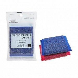 """Губка """"Strong Scrubber"""" для мытья кастрюль, сковород и чистки овощей со стальной металлической нитью (особо жёсткая) (13 х 9 х 1,5 см) х 1 шт / 300"""