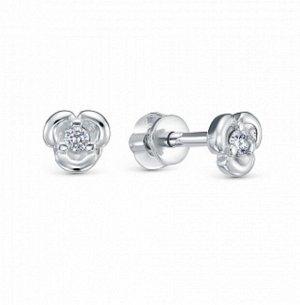 Серьги с фианитом  родированные серебро 925*