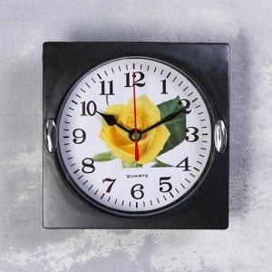 """Часы настенные. серия: Цветы. """"Роза желтая"""" 15х15 см"""