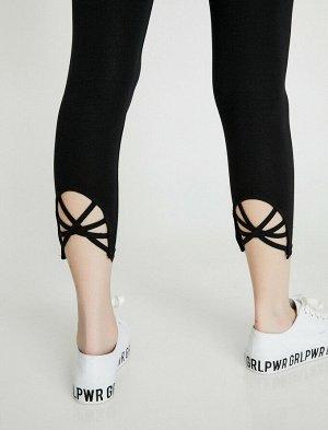 Леггинсы с деталями на ноге - черный