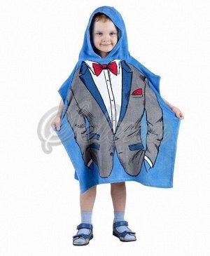 """Накидка махровая детская с капюшоном """"настоящий мужчина"""" 60/120 см."""