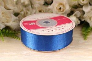 Редактировать фото Однотонная атласная лента (синий) 25мм * 30 ярдов (+-1м)