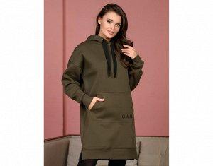 """Платье Хаки. Платье с длинным рукавом, карман """"кенгуру"""", капюшон. Материал COTTON с начесом плотныйХЛОПОК 92% ЭЛАСТАН 8%"""