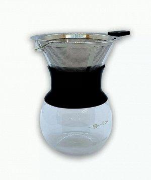 Товары для заваривания кофе и чая. Стеклянный кофейник с металлическим фильтром, 200 мл, черный Способ заваривания