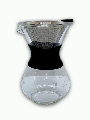 Товары для заваривания кофе и чая. Стеклянный кофейник с металлическим фильтром, 400 мл, черный Способ заваривания