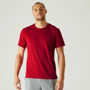 Футболка для фитнеса мужская хлопковая эластичная 500 красная NYAMBA
