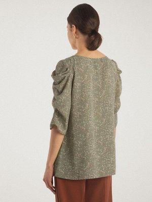 Блузка Состав ткани: Вискоза 55%, Полиэстер 45% Длина: 60 См. Описание модели Объемные рукава – один из модных трендов этого года. В данной модели мы сделали свою вариацию рукава жиго. Или как его наз