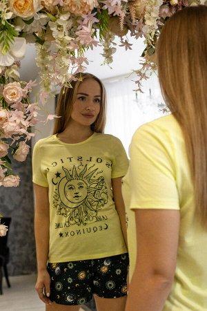 """Костюм женский кулирка с шортами """"Созвездие"""" лимон"""