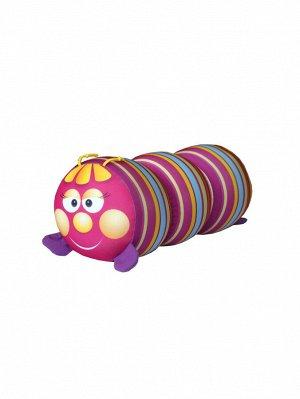 """Антистрессовая игрушка-валик """"Гусеница"""" мал. (Малиновая полоска)"""