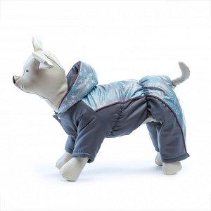 Комбинезон для собак на синтепоне 25 (сука) серый/принт