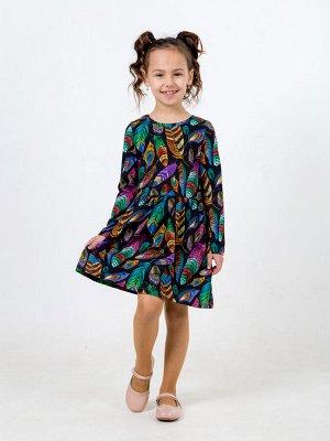 Платье Эля перья черный