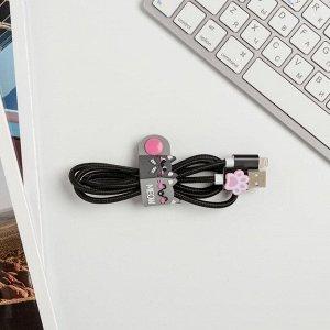 Набор: держатель для провода и кабель USB iPhone «Кот», 1 м