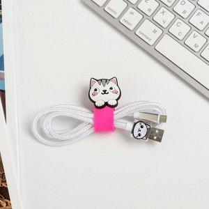 Набор держатель для провода и кабель USB Android Oh, my cat, 1 м