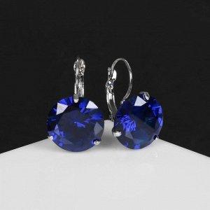 """Серьги со стразами """"Большой сапфир"""", d=1,6, цвет синий в серебре"""