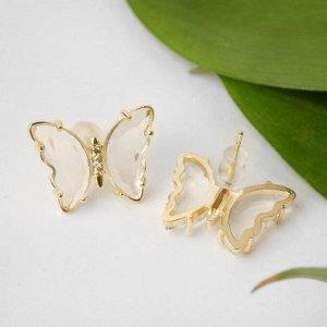 """Серьги со стразами """"Бабочки мини"""" прозрачные, цвет белый в золоте"""