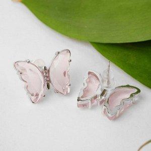 """Серьги со стразами """"Бабочки мини"""" прозрачные, цвет розовый в серебре"""