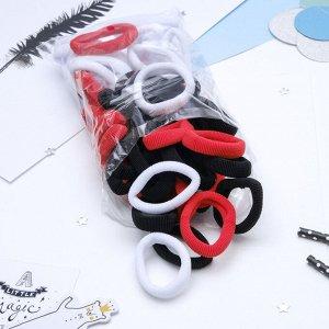 """Резинка для волос """"Махрушка"""" 6 см (набор 48 шт) красный, чёрный, белый"""