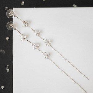 """Серьги висячие со стразами """"Цветы"""" длиная цепочка, цвет белый в серебре 5493835"""