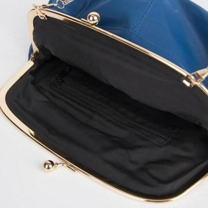 Клатч-косметичка, отдел на фермуаре, наружный карман, цвет синий