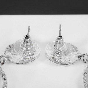 """Серьги с жемчугом """"Кольцо в кольце"""", цвет белый в серебре"""
