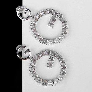 """Серьги с жемчугом """"Подарок"""" буква G, цвет белый в серебре"""