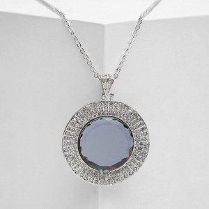 """Кулон """"Империя"""" круг, цвет серый в серебре, 65 см"""