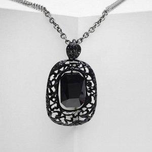 """Кулон """"Империя"""" прямоугольник, цвет чёрный в чёрном металле, 65 см"""