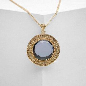 """Кулон """"Империя"""" круг, цвет серый в золоте, 65 см"""