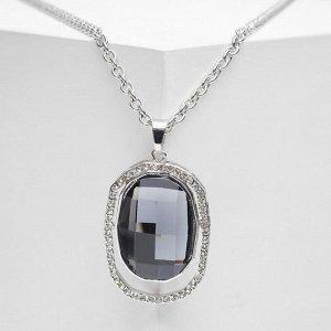 """Кулон """"Империя"""" овал в стразах, цвет серый в серебре, 65 см"""