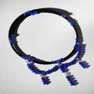 """Чокер """"Чешское стекло"""", цвет синий"""