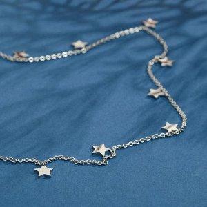 """Колье """"Звёзды"""" ночь, цвет серебро, 45 см"""
