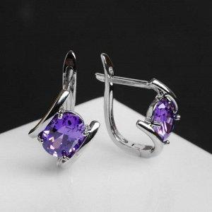 """Серьги со стразами """"Элегант"""" параллельные, цвет фиолетовый в серебре"""