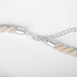 """Кулон на шнурке """"Магия"""" деревянные вставки, цвет коричневый в серебре, 50см"""