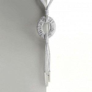 """Кулон на декоративной основе """"Август"""" круг, цвет серебро, 60см"""