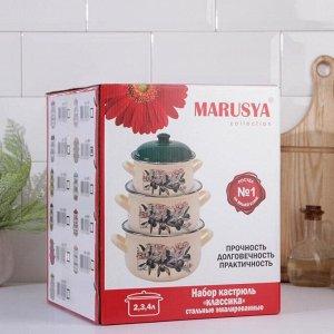 Набор кастрюль Маруся «Горошек», 3 предмета: 2 л, 3 л, 4 л, эмалированная крышка