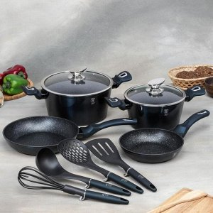 Набор посуды 10 пр Aquamarine Edition  2 кастр, 2 сков, 2 стекл. кр, 4 кух инст