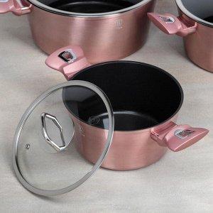 Набор посуды 10 пр I-Rose Edition 3 кастр, 3 стекл. кр, 2 сков, 2 подст