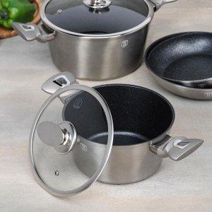 Набор посуды 10 пр  Carbon Metallic Line  2 кастр, 2 сков, 2 стекл. кр, 4 кух инст