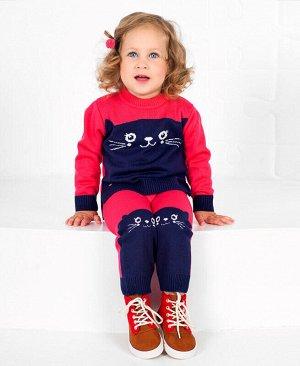 Вязаный костюм для малышей Цвет: малина