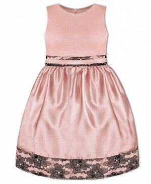 Розовое нарядное платье для девочки Цвет: св.розов+чёрн