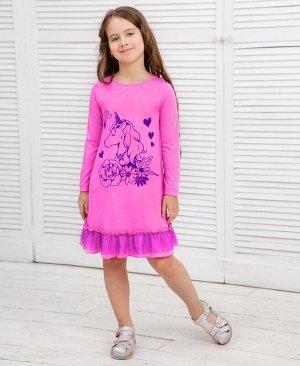 Пурпурное платье для девочки с оборками Цвет: пурпурный
