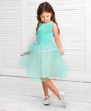 Ментоловое нарядное платье с сеткой для девочки Цвет: ментоловый