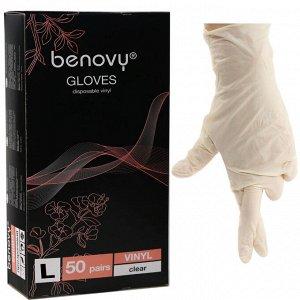 Перчатки виниловые прозрачные GLOVES Benovy   50 пар/уп (L)