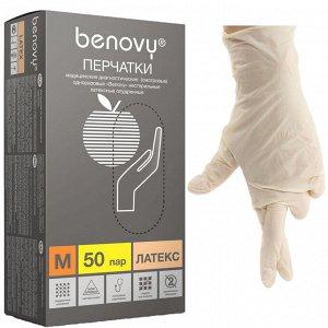 Перчатки латексные опудренные Benovy 50 пар/уп (М)