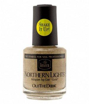 """Голографическая сушка Northern Lights Hologram Top Coat """"Gold"""" INM 15 мл"""