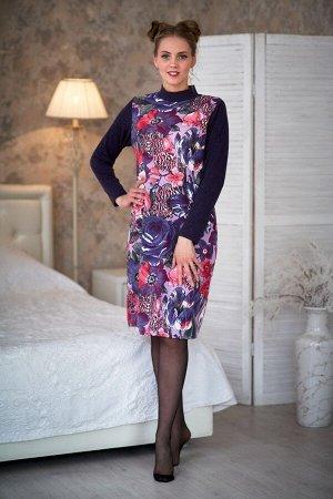 Платье комбинированное цветы