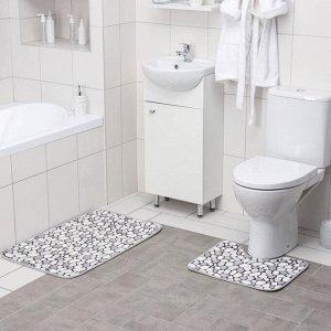 Набор ковриков для ванны и туалета Доляна «Галька», 2 шт: 45?50, 50?80 см