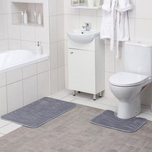Набор ковриков для ванны и туалета Доляна «Волна», 2 шт: 40?50, 50?80 см, цвет серый