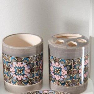 Набор аксессуаров для ванной комнаты «Флоренция», 4 предмета (мыльница, дозатор для мыла, 2 стакана)
