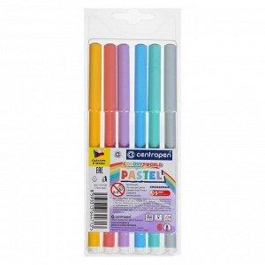 Фломастеры 6 цветов, Centropen Colour World Pastel 7550/6 TP, пастельные, в блистере